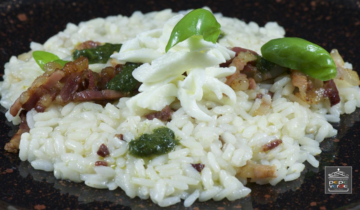 Risotto pancetta e basilico